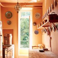 Orange Farmhouse Kitchen