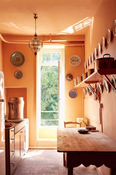Traditional Orange Kitchen