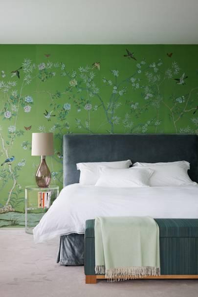 Green Bird and Tree Chinoiserie