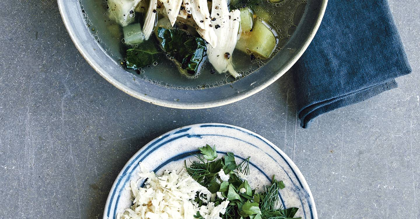 Winter soup with chicken and kale