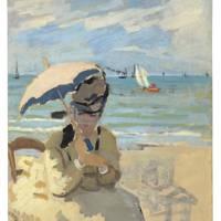 CLAUDE MONET (1840–1926) Camille assise sur la plage à Trouville