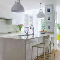 Wooden Flooring in White Kitchen