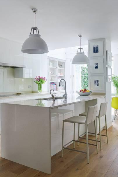 Wooden Flooring in White Kitchen
