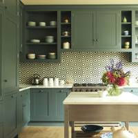 Green Shaker Style Cupboards Geometric Tiles