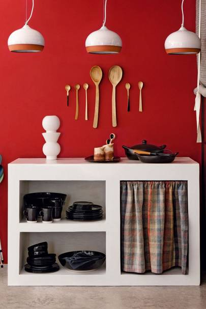 Red kitchen, white storage