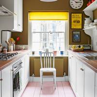 Kitchen with Painted Plank Flooring