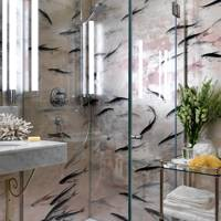 Glass Shower with Fish Wallpaper