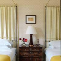 Yellow Country Bedroom with Twin Four Poster Beds