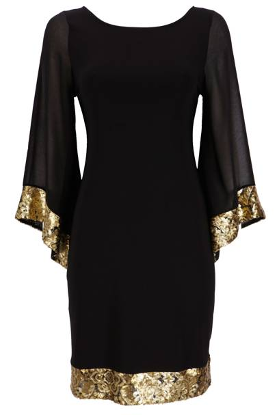 Black Kimono Sequin Dress