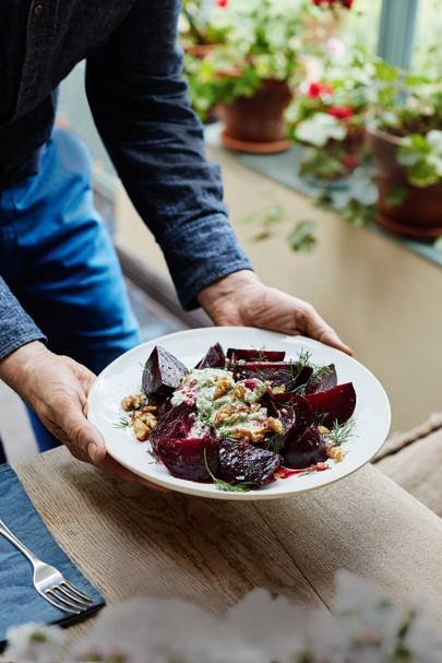 Beetroot Salad with Herb Borani and Walnuts