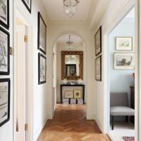 Traditional Hallway with Herringbone Floor
