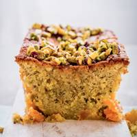 Pistachio, apricot and orange blossom cake
