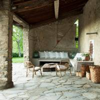 Stone Timber Loggia & Mondrian Wall Mural