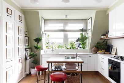 Elegant Green Kitchen with White Units