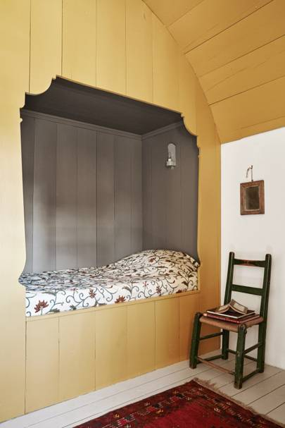 Wooden attic box bed