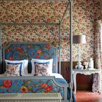 Floral Wallpaper and Four-Poster Bed