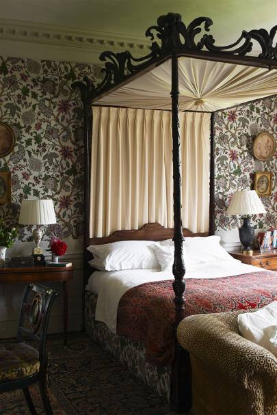 Four-Poster Bed in Patterned Country Bedroom