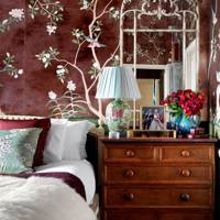 Antiqued Wallpaper Bedroom