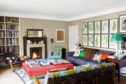 Cosy Living Room with Grid of Fern Prints