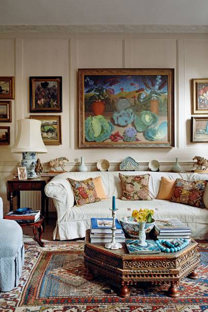 Old-fashioned room with sofa and needlepoint cushions| Living Room Design Ideas