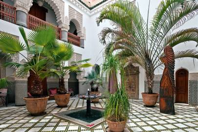 tiled patio courtyard with potted palms