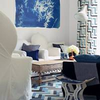 Contemporary blue and white living room
