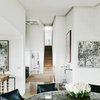 White Dining Room with Flint Table