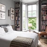 Grey Bedroom with Window Bookshelves