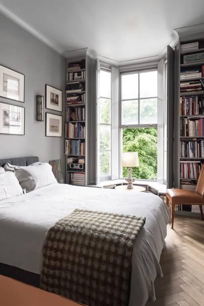 Grey Bedroom with Window Bookshelves | Bedroom Design Ideas
