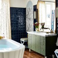 Dark Navy Tile Wall