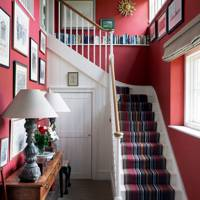 Modern Rustic Red Hallway with Striped Runner