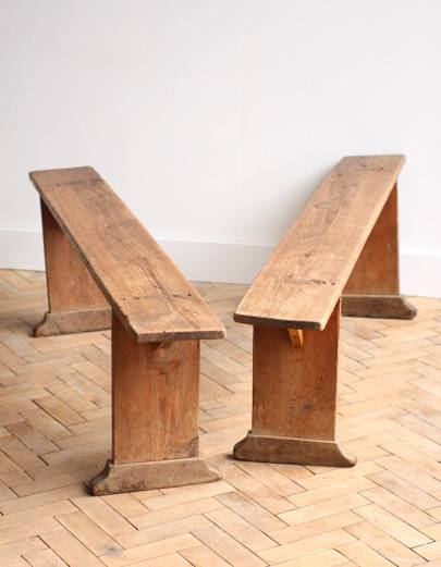 Pair of French of Vintage Antique French Pine Wooden Benches, £140