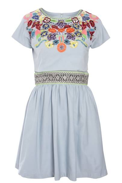 Pastel-Blue Native American Embroidered Dress