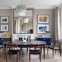 Grey Dining Room with Mid-century Furniture