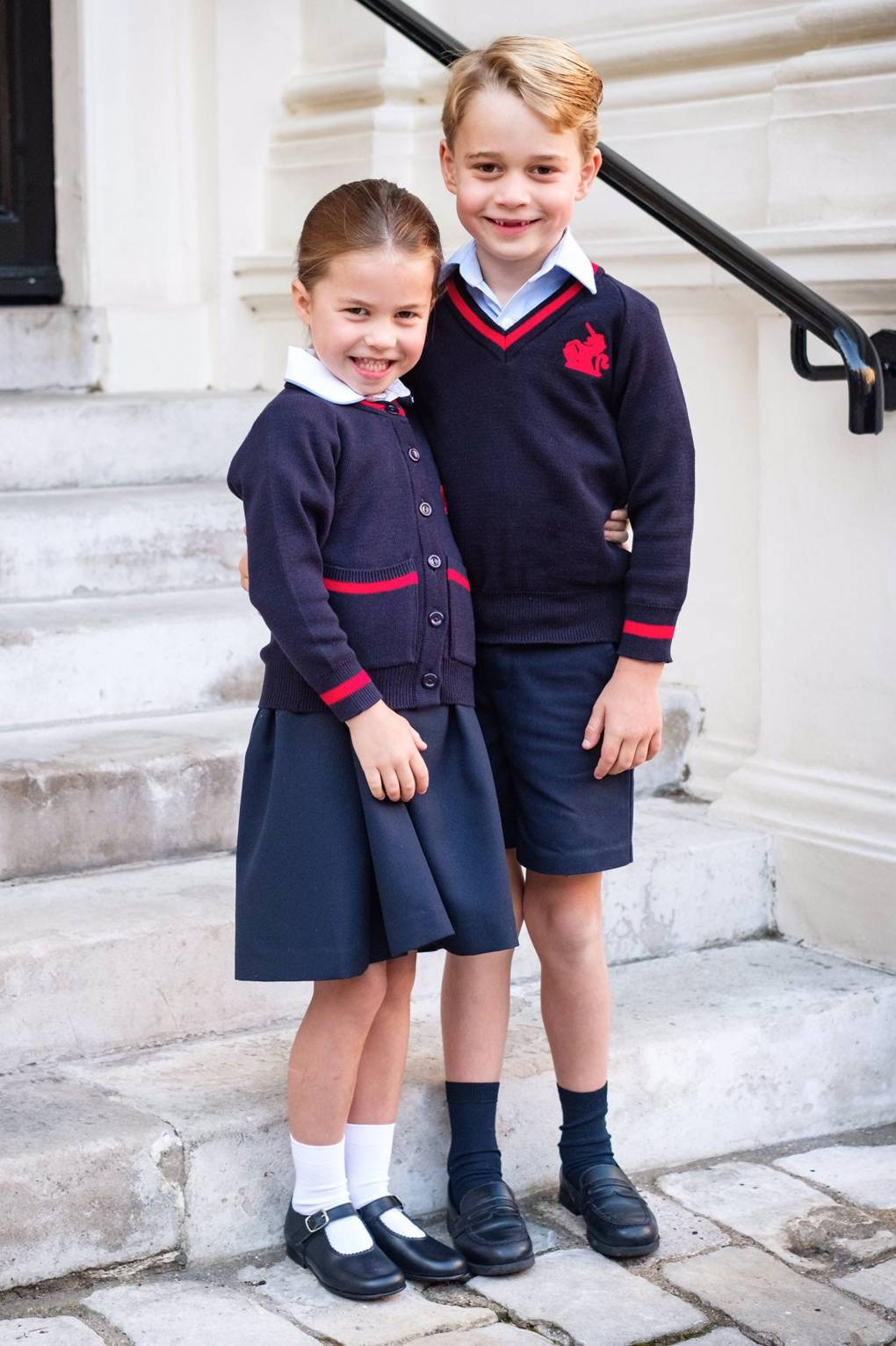 Princess Charlotte and Prince George look adorable in a sibling portrait on their first day of school