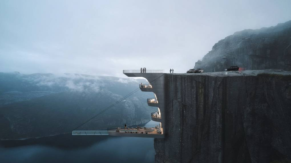 Architects propose a glass-bottomed pool 600 metres above a Norwegian fjord