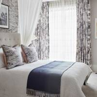 Monochrome Bedroom with Muslin Drapes