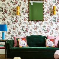 Green Velvet Sofa & Patterned Walls in fabric