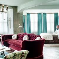 Burgundy & Turquoise Bedroom