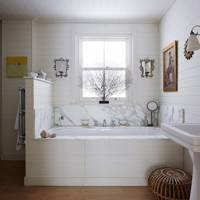 White Bathroom with Marble & Wood Panelling