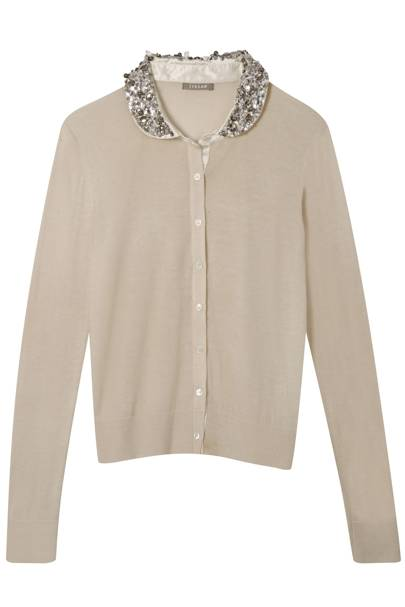 Peter Pan Collar Button Down Cardigan with Sequin Detail