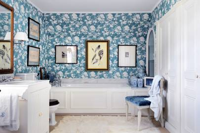 Bathroom with Blue Floral Wallpaper