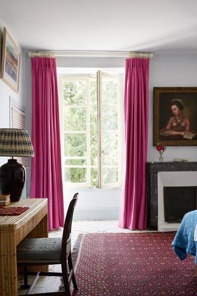 White Bedroom with Pink Curtains