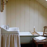 Panelling & Sink Curtain in Small Bathroom