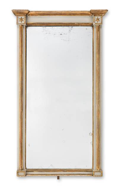 A REGENCY GREY PAINTED AND GILTWOOD PIER MIRROR