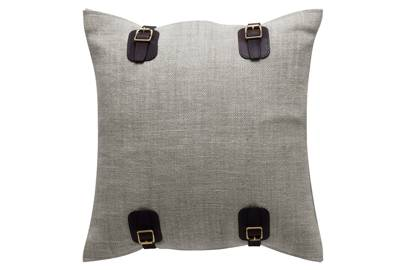 'Maroc Buckle Cushion' linen/leather, 45cm square, £245, from de Le Cuona