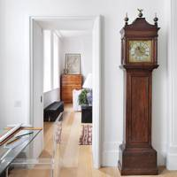 Modern White Hallway with Grandfather Clock