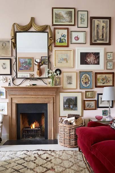 Rita Konig Fireplace Gallery Wall | Living Room Design Ideas