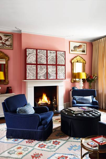 Pink Living Room with Dark Blue Chairs