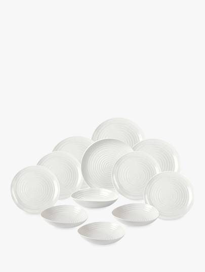 Sophie Conran for Portmeirion Coupe Dinnerware Set, White, 12 Pieces